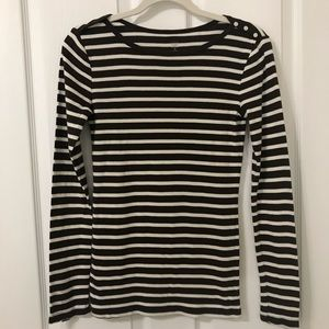 GAP Woman's Long Sleeve Striped Brown & Cream Top